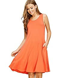 Annabelle Women's Tank Top Sleeveless Round Neck Midi Swing Dresses with Pockets