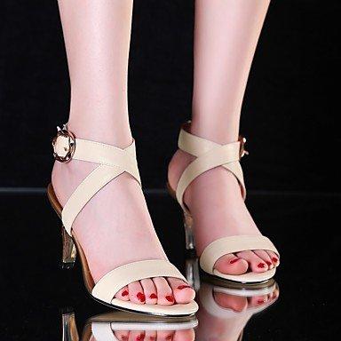 LvYuan zapatos del club de las sandalias del verano del resorte de las mujeres del partido piel de vaca&vestido de noche beige