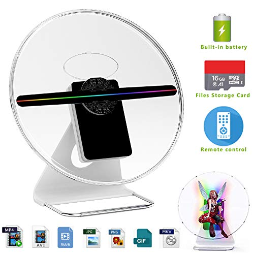 (【256 PCS LED,Wall Mounted & Portable】3D Holographic Fan Hologram Digital Display Photo/512P HD Video at Home,Office,Entertainment and Shops,Remote Control 160 Degree Wide Viewing Angle,iDiskk【12inch】)