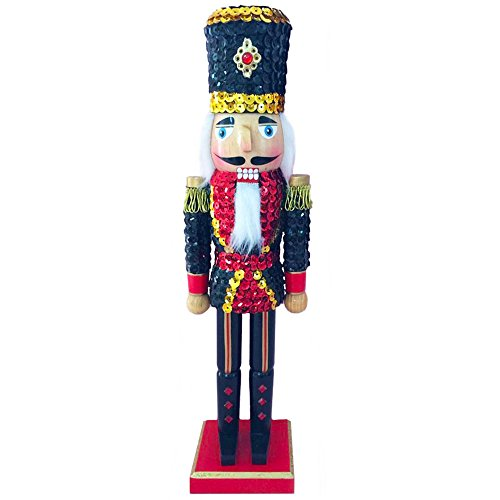 Christmas Holiday Wooden Nutcracker Figure Soldier with Traditional Navy Blue, Red, and Gold Sequin Uniform Jacket and Top Hat with Red Sparkle Rhinestone Details,, Large, 15 Inch ()
