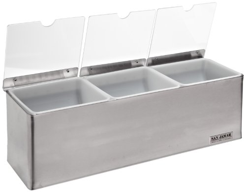 San Jamar B6183INL EZ-Chill Stainless Steel Condiment Center with Individual Notched Lid, 18'' Width x 5-7/8'' Height x 5-3/8'' Depth by San Jamar
