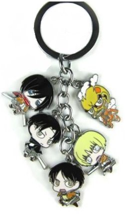 Attack On Titan Metal Charm Characters Keychain 5 in (Titan Metal)