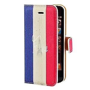 CL - Toalla Eiffel en Francia Flag PU del patrón de caso completo de cuerpo con ranura para tarjeta y el soporte para el iPhone 5/5S