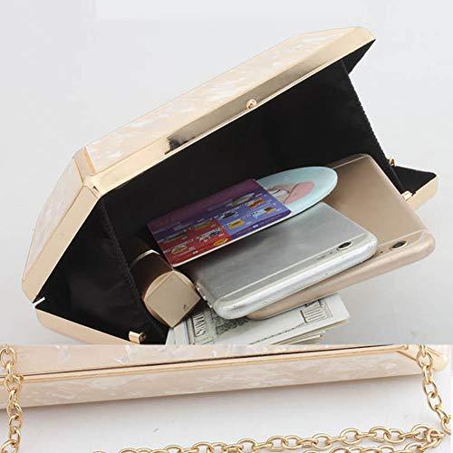 Apricot Mano Noche Mujeres Moda Billetera Bolso Paquete Las Cadena Bolsos De Acrilico Clutch white Embrague La Mujer Bag qTwq6FZ