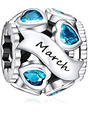 NINGAN Birthstone Charms 925 Sterling Silver Love Heart Openwork Bead for Charm Bracelets and Necklaces with 5A Cubic Zirconia, Birthday Mothers Day Jewelry Gifts Women Girls