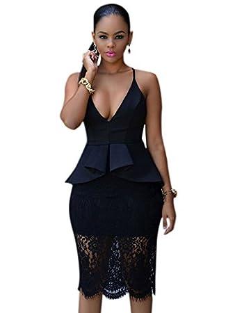 Ladies Plus Size Black Lace Peplum Bodycon Office Dress Party Club