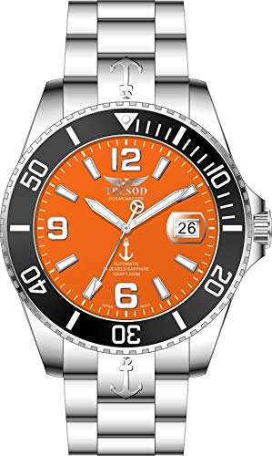 Tresod Men's Ocean Master Automatic Orange Dial Sapphire Crystal Ceramic Bezel High Polished 300M Stainless Steel Watch