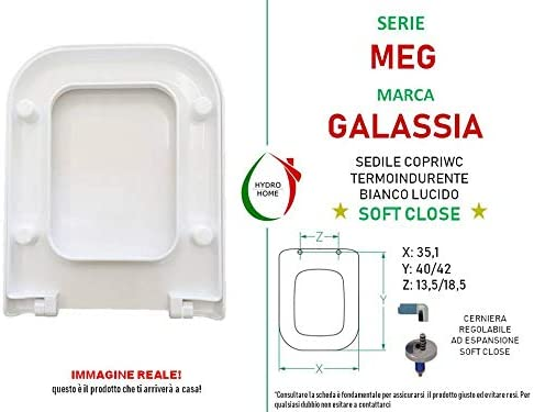 Asiento para inodoro MEG GALASSIA termoendurecible Soft Close envolvente compatible