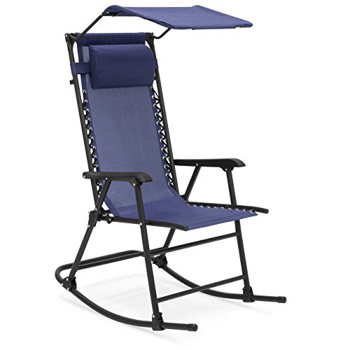 Best Choice Products Foldable Zero Gravity Rocking Patio Chair with Sunshade Canopy - Navy Blue (Best Choice Rocking Chair)