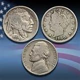 3 Pc. Old Nickel Set - Buffalo Nickel (1913-1937) - Liberty Nickel (1883-1912)- Wartime Silver Jefferson Nickel