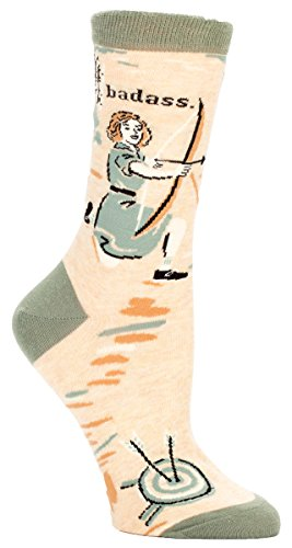Blue Q Women's Novelty Crew Socks - Badass-Archer (Womens Size 5-10)