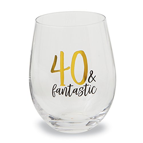 Mud Pie 40th Birthday Celebration Stemless Wine Glass 16 (Celebration Wine)