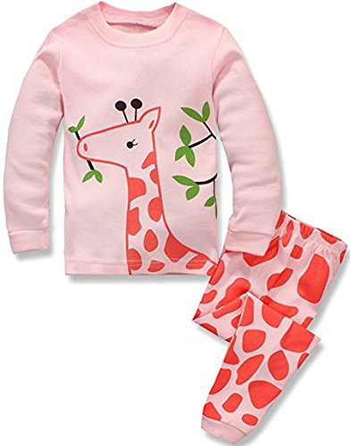 Girls Pyjama Set - Babypajama Deer Infant Baby Girls' Pajamas Set 100% Cotton Organic pyjamas Pink Size 12-18 Months