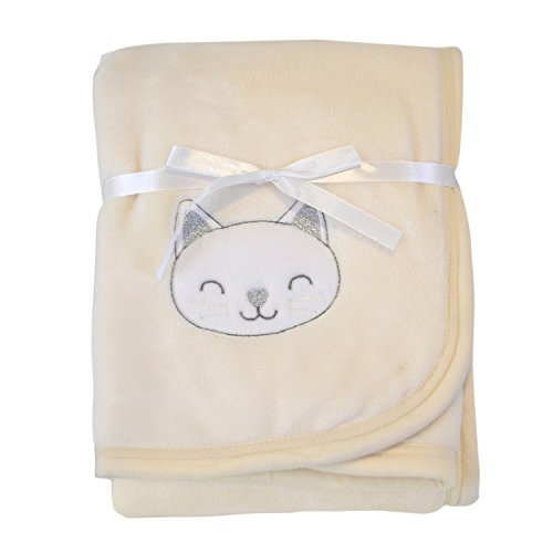 Ataya Baby Blanket Swaddle Wrap Throw,Soft Warm Plush Flannel and Sherpa Fleece Security Blanket,2-Layer Receiving Embroidered Gift Blanket (76cm×100cm) (Throw Baby Personalized)