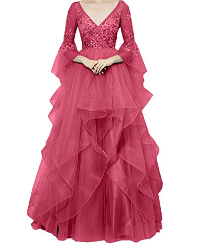 Damen Spitze Wassermelon Langarm Quincenera Abendkleider Charmant Lang Partykleider 2018 Kleider Ballkleider Neu Dunkel Festlichkleider gdOqxI6