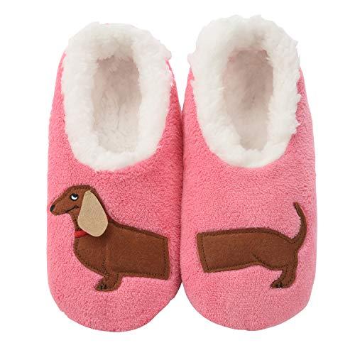 Snoozies Womens Classic Splitz Applique Slipper Socks | Dachshund | X-Large ()