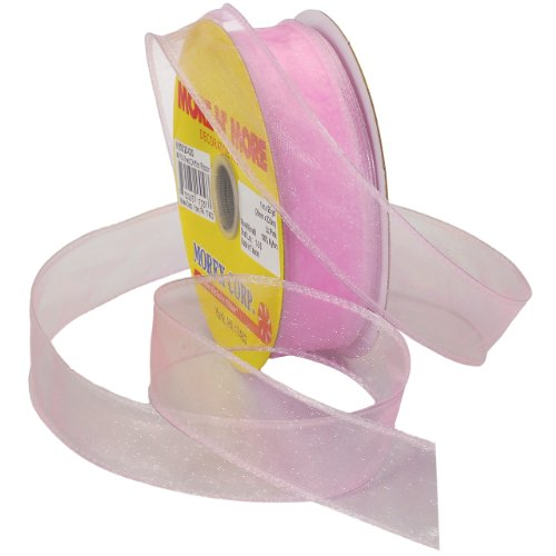 Morex Ribbon Wired 1-Inch Chiffon Ribbon with 25-Yard Spool, Light Pink (Pink Brads)