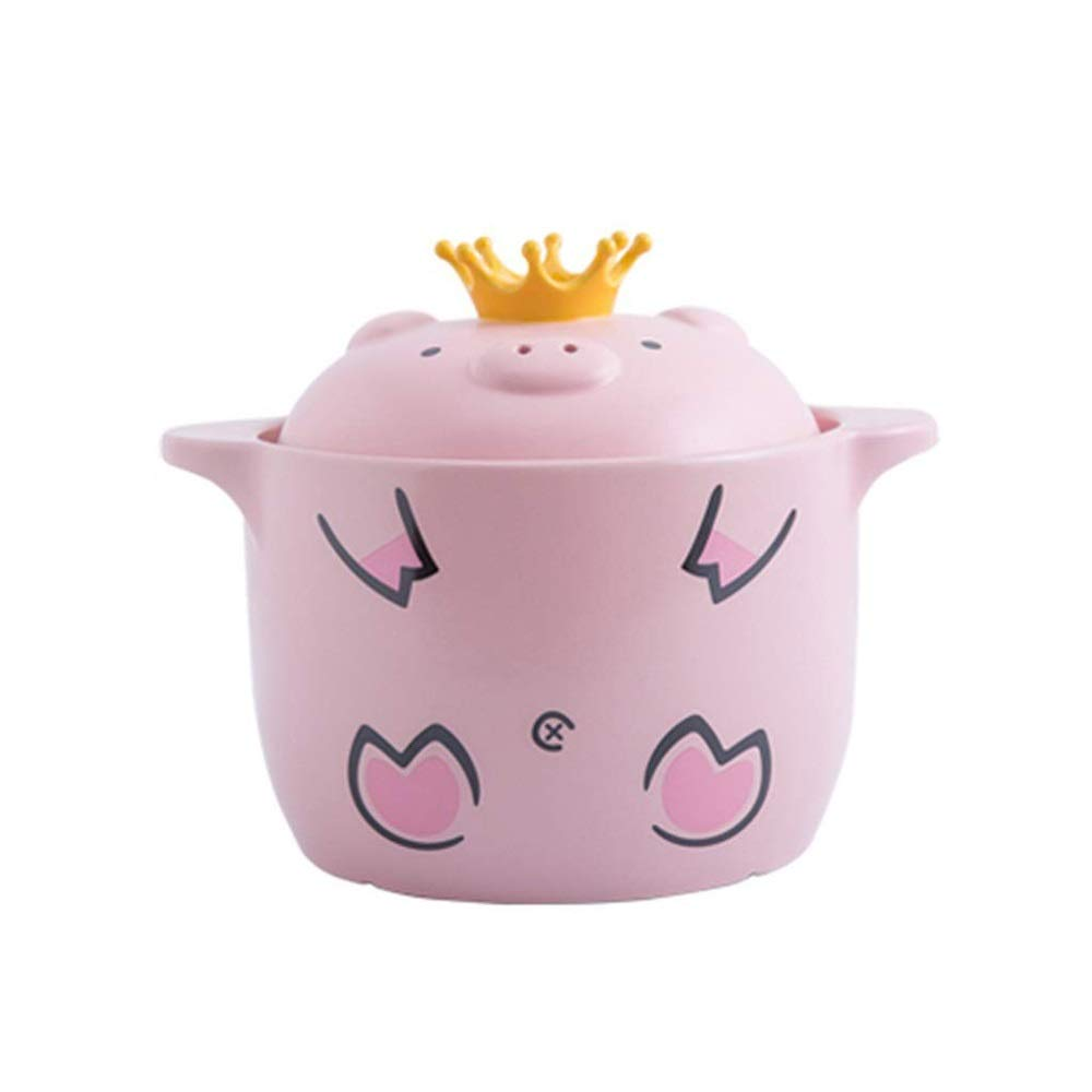 KJRJKX Cartoon Pattern Ceramic Round Black Dish Casserole/Clay Pot/Earthen Pot/Ceramic Cookware With Lid Heat-Resistant Girl Gift Box (Size : 4000ml)