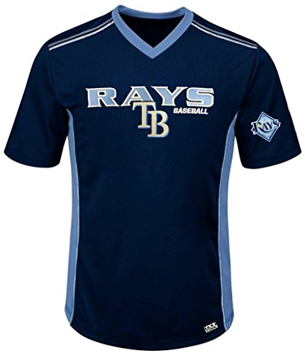 (VF Tampa Bay Rays MLB Mens Cool Base Performance V Neck Jersey Navy Blue Big Sizes (3XL))