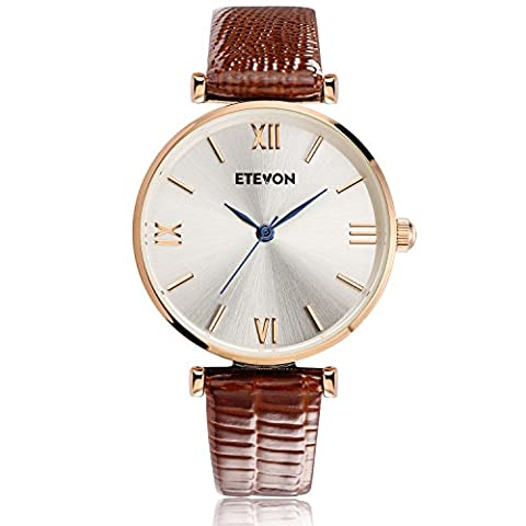 ETEVON Women's Quartz Retro Leather Watch Waterproof with Rose Gold Dial and Brown Strap, Fashion Luxury Casual Dress Wrist Watches for Women (Water Proof Watches Ladies)
