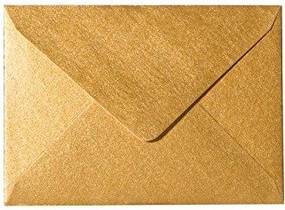 Briefumschläge24plus 25 Briefumschläge Mini Geeignet Für Visitenkarten Gold 6 X 9 Cm Verschluss Technik Feuchtklebend Grammatur 90 G M