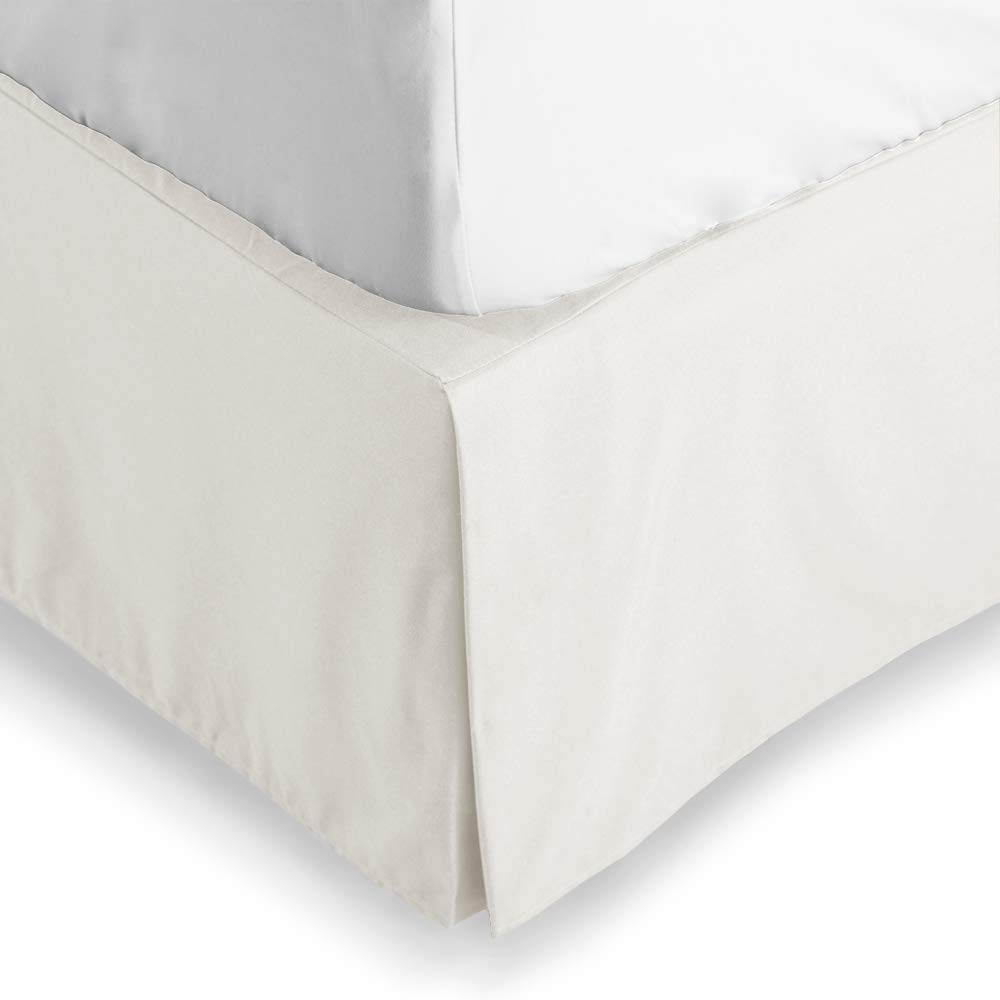 Bare Home Bed Skirt Double Brushed Premium Microfiber, 15-Inch Tailored Drop Pleated Dust Ruffle, 1800 Ultra-Soft Collection, Shrink and Fade Resistant (Queen, Ivory)