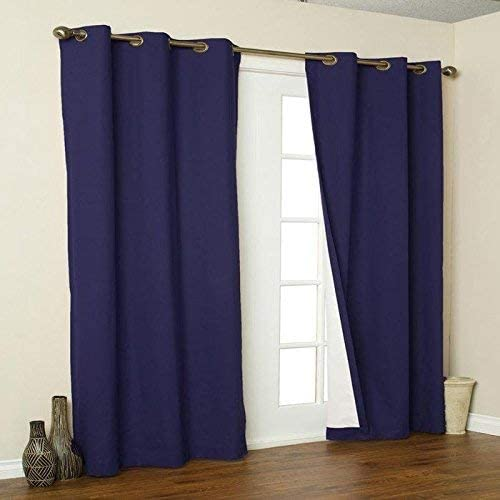 Thermalogic Weathermate Insulated Grommets Cotton Curtain Panels, 80 x 54 navy