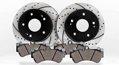 Performance Drilled /& Slotted Brake Rotors /& Ceramic Pads Front Kit