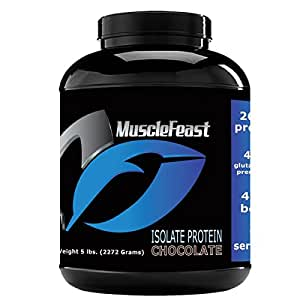 Grass Fed Whey Protein Isolate - by Muscle Feast   All Natural, Lactose Free and Hormone Free   NO Soy, Gluten or GMOs   4.6g of BCAA's Per Serving (5lb, Chocolate)