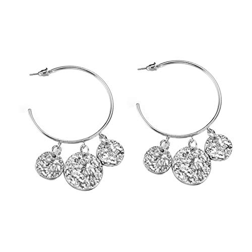 Haluoo Big Hoop Earrings for Women Girls Fashion Bohemian Three Coins Drop Dangle Earrings Silver Gold Plated Stud Ear Jacket for Sensitive Ears – Wedding Jewelry Gift for Mom Girlfriend (Silver)