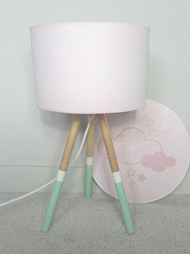 Luminaire Enfant Lampe De Chevet Bois Vert Menthe Rose Amazon Fr