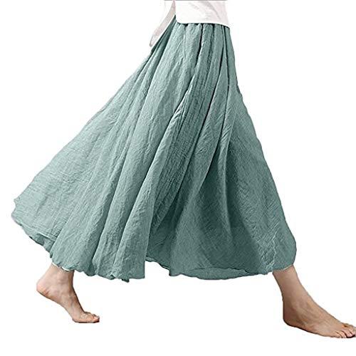 Auimank Chiffon Skirts 2019d Women's Bohemian Style Elastic Waist Band Cotton Linen Long Maxi Skirt Dress(Light Green,Small)