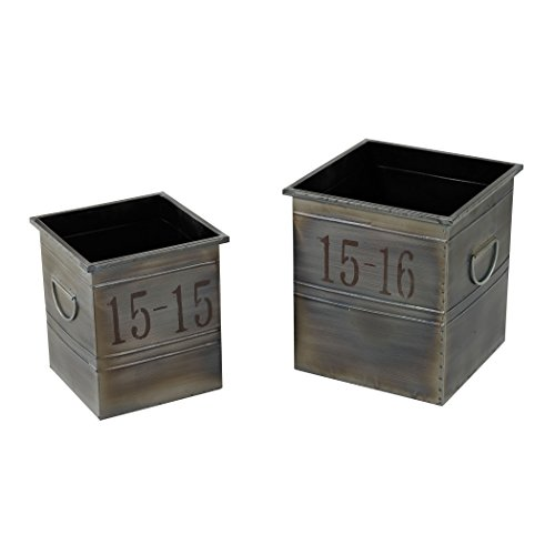 Sterling Industries 26-8667/S2 Industrial Planters, Set of 2 (Floor Stand Sterling)