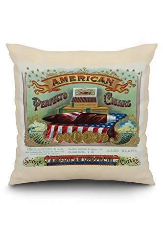 American Perfecto Cigars Brand Cigar Box Label (20x20 Spun Polyester Pillow, White Border)