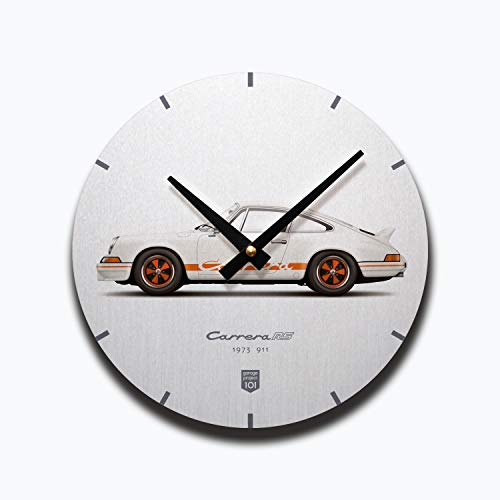 (GarageProject101 1973 Classic 911 Carrera RS (White) Illustration Wall Clock)