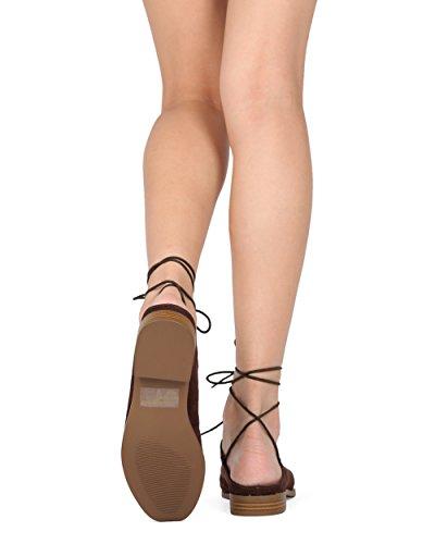 Alrisco Dames Enkelbandje Mule - Lace Up Flat Slide - Casual Alledaags Chic Slipje Op Plat - Hc65 By Wild Diva Lounge Collectie Bruin