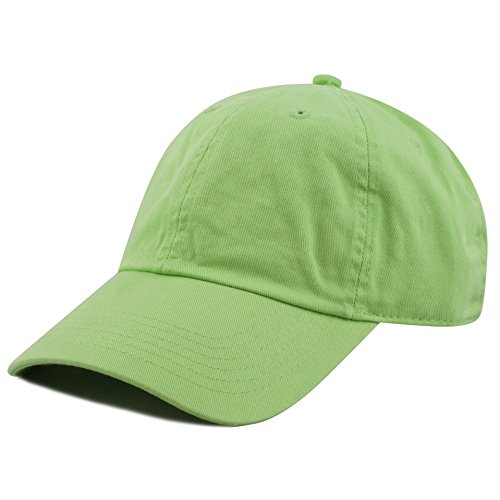 (The Hat Depot 300N Washed Cotton Low Profile Baseball Cap (Lime))