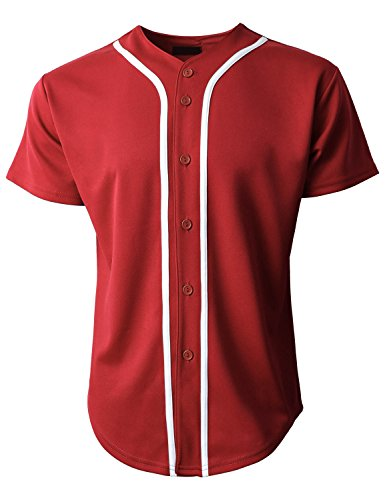 Hat and Beyond Mens Baseball Jersey Button Down T-Shirts Plain Short Sleeve 1UPB0001 (X-Large, ()