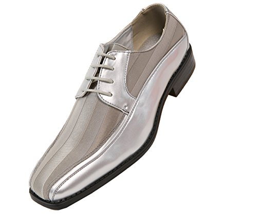 (Viotti Men's Formal Oxford Dress Shoe Striped Satin and Patent Tuxedo Classic Lace Up with or Without Tip Style 179/5205 Silver)