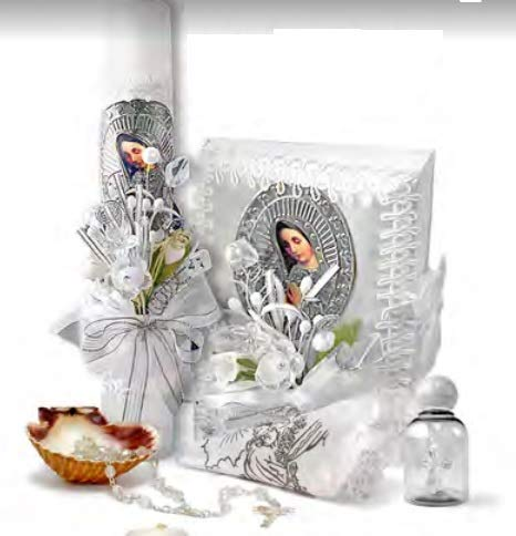 English Handmade Christening/Baptism Baby Set for Girl, Virgen Virgencita : Candle, Bible, Dry Cloth, Sea Shell, Rosary and Holy Water Bottle –Bautizo Religious Gift