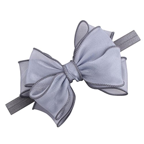 Glorrt Fashion Cutu Headwear Baby Girls Infant Hair Band Bow Headbands Hair Accessories (Gray)