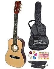 "Beginner 30"" Classical Acoustic Guitar - 6 String Linden Wood Traditional Style Guitar w/ Wood Fretboard, Case Bag, Nylon Strap, Tuner, 3 Picks - Great for Beginner, Children Use - Pyle PGAKT30"