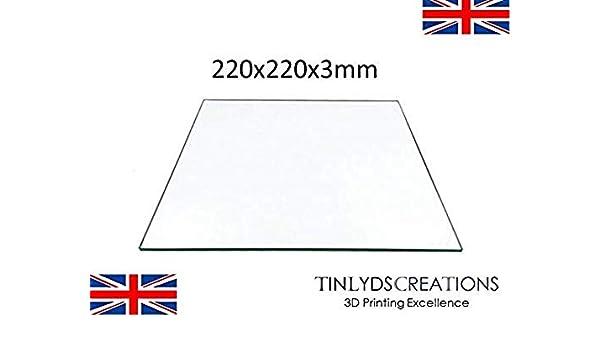 220 x 220 x 3 mm, placa de cristal de borosilicato para base ...
