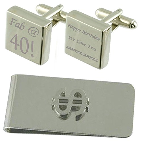 Gift Dollar Fab Clip 40 Cufflinks Set Square Money Engraved 0xxzq4wf
