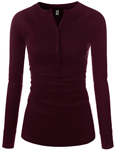 NEARKIN (NKNKWBT64 Womens Fitted Tee Henley Neck Long Sleeve Cotton Tshirts Burgundy US S(Tag Size M) ()