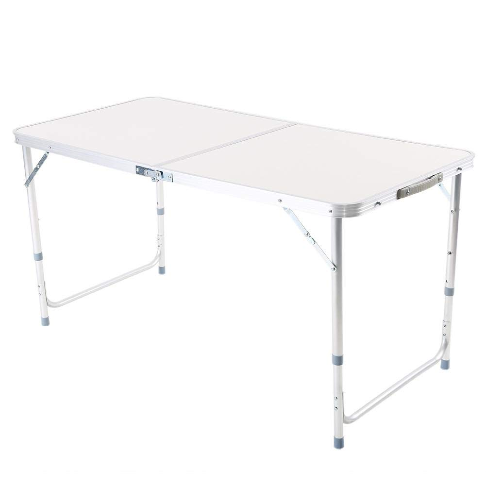 Height Adjustable Outdoor Kitchen Work Top Table Folds in Half Trestle Dining Table for BBQ Garden Party 120 x 60 x 70//62//55 cm lahomie 4ft Folding Table Portable Picnic Table