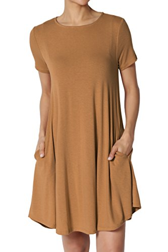 Basic Dress Trapeze Coffee Short Crew Neck Sleeve S~3X Mini Tunic Pocket TheMogan Short FUw5x