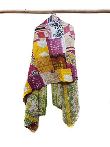 Vintage Kantha Scarf Cotton Bandana Sew Long Reversible Scarf Hijab Scarves patchwork