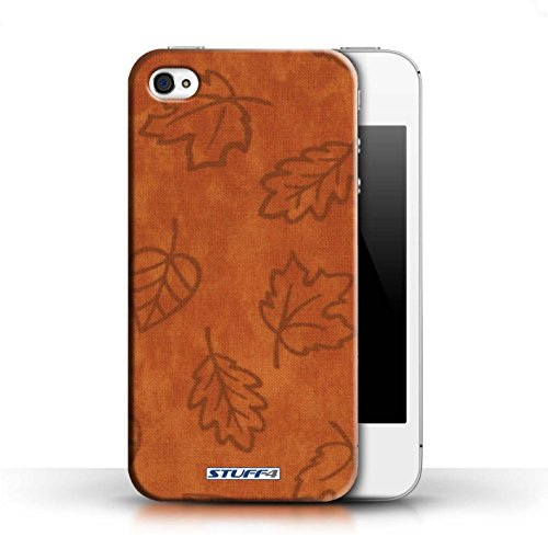 Etui pour Apple iPhone 4/4S / Orange conception / Collection de Motif Feuille/Effet Textile