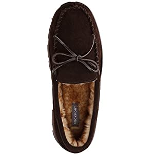 Rockport Memory Foam Plush Lining Suede Slip On Moccasin Indoor/Outdoor Men's Slippers (Size 9 Slipper, Brown Moccasin)
